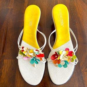 Sam & Libby Multi-Color Floral Kitten Heel Sandals